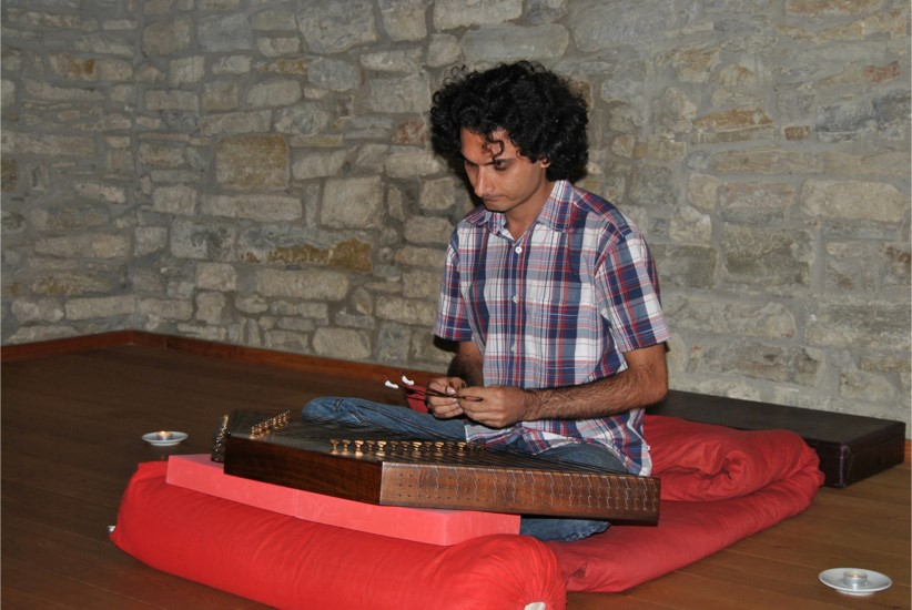 The musician Ali Reza with his Santur.